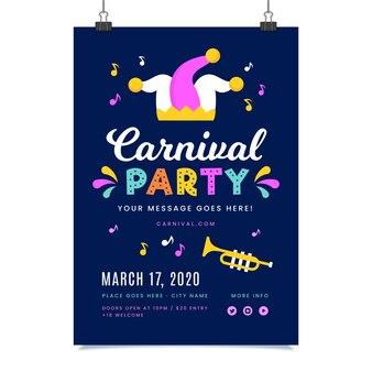 파티 카니발 포스터를위한 다채로운 디자인