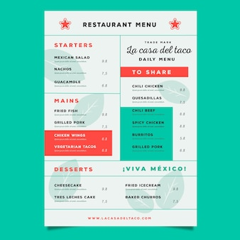 Colorful design healthy food menu
