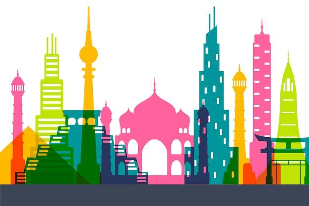 Colorful design landmarks skyline