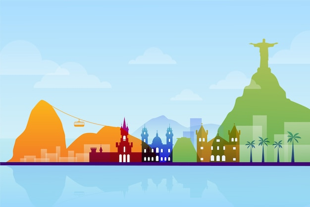 Colorful design landmarks skyline