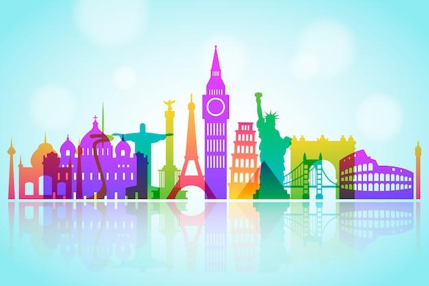 Colorful design for landmarks skyline