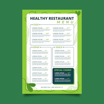 Colorful design restaurant menu