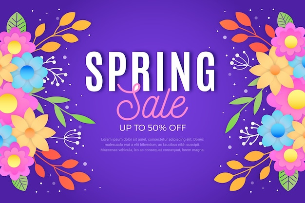 Colorful design spring sale in paper style