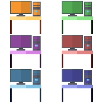 Colorful desk with monitor and computer element icon game asset flat illustration