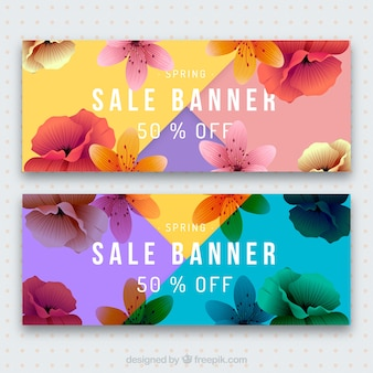 Colorful detailed spring sale banners