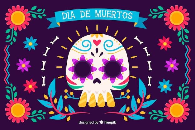 Colorful dia de muertos background in flat design