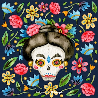 Colorful día de muertos background in watercolor