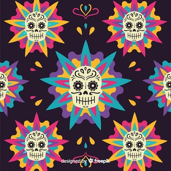 Colorful dia de muertos background