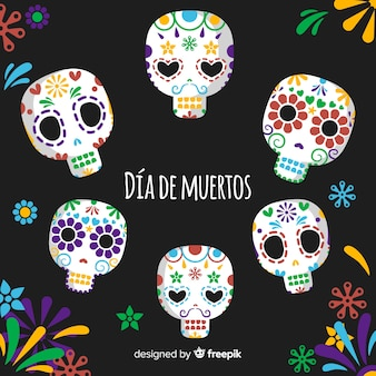 Colorful día de muertos background