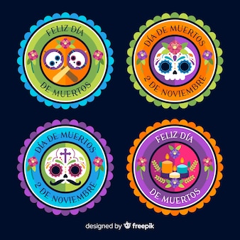 Colorful día de muertos badge collection