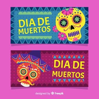Colorful dia de muertos banners