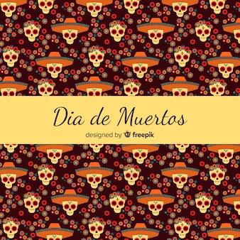 フラットデザインのカラフルなdíade muertosパターンコレクション