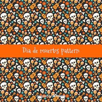 Colorful día de muertos pattern collection with flat design