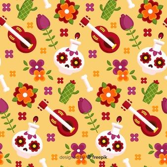 Colorful dia de muertos pattern in flat design