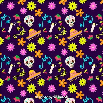 Colorful dia de muertos pattern in flat design