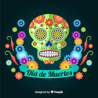 Colorful dia de muertos skull background