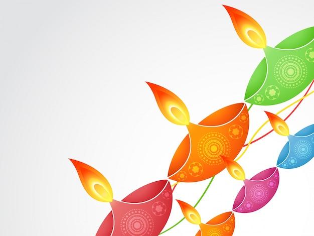 Colorful diagonal candle design for diwali