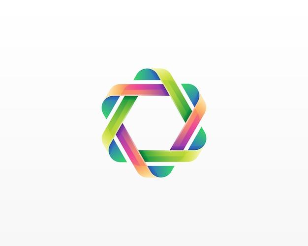 다채로운 대각선 로고 프리미엄 벡터