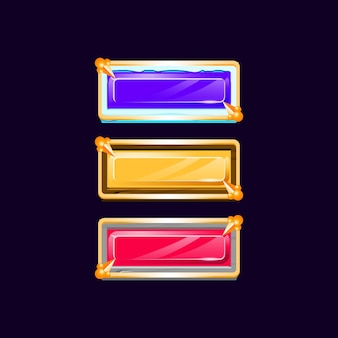 Colorful diamond gui wooden stone ice button with golden medieval border for game ui asset elements