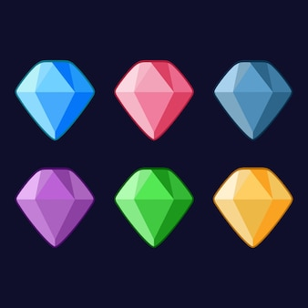 Красочные алмазные иконки 6 векторный игровой ресурс 2d
