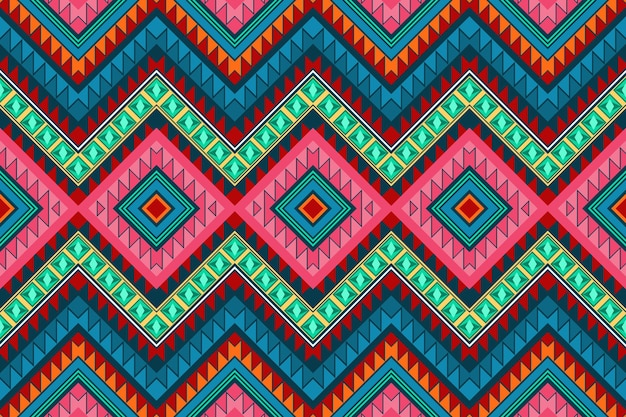 Colorful diamond vintage aztec ethnic geometric oriental seamless traditional pattern. design for background, carpet, wallpaper backdrop, clothing, wrapping, batik, fabric. embroidery style. vector.