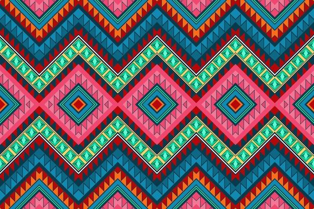 カラフルなダイヤモンドヴィンテージアステカ民族幾何学的な東洋のシームレスな伝統的なパターン。背景、カーペット、壁紙の背景、衣類、ラッピング、バティック、ファブリックのデザイン。刺繡スタイル。ベクター。