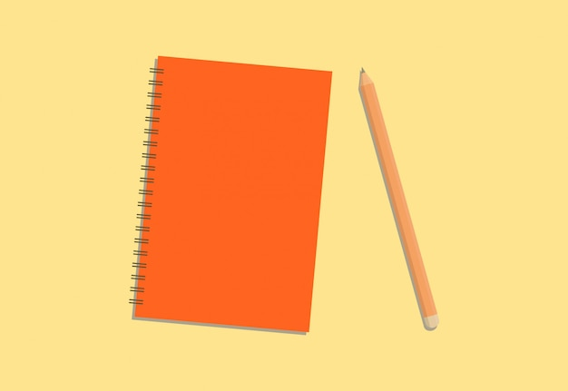 Colorful diary and pencil with cream background