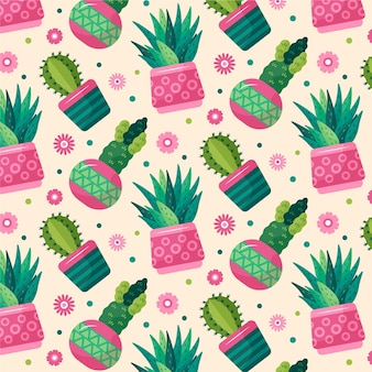 Colorful different cactus plants pattern
