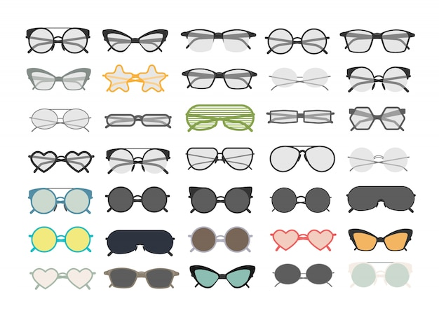 Colorful different eyeglasses and sunglasses set on white.