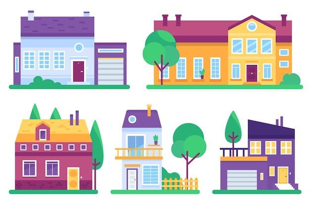 Коллекция красочных разных домов