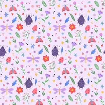 カラフルな異なる昆虫や植物のパターン