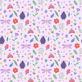Colorful different insects and plants pattern