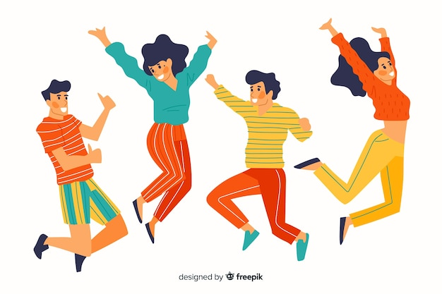 Colorful different people jumping together