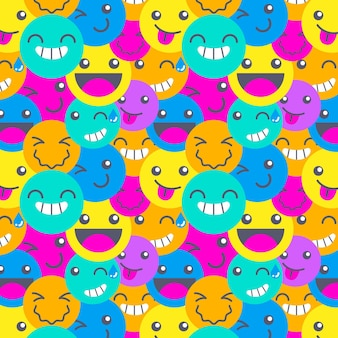 Colorful different smile emoticons pattern