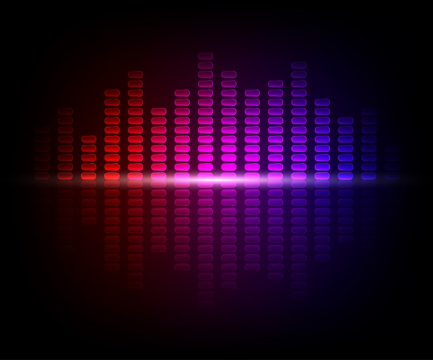 Colorful digital shining equalizer. vector illustration with light effects on dark background
