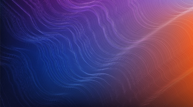 Colorful digital sound wave, wavy particle surface and earthquake wave concept design