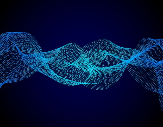 Colorful digital wave with chaotic particles on dark background.