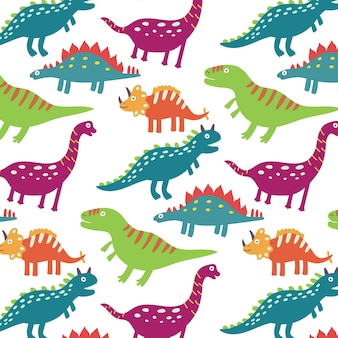 カラフルな恐竜のシームレスなパターン