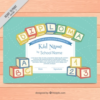 Colorful diploma for kids