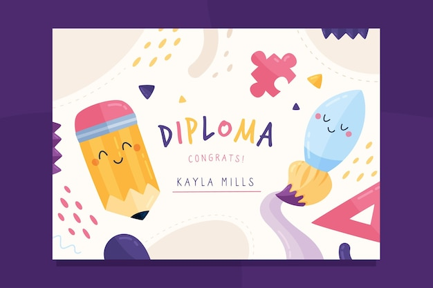 Colorful diploma template for children