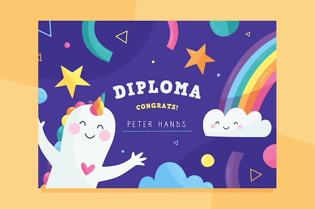 Colorful diploma template for kids