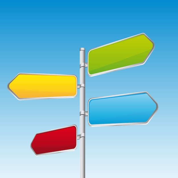 Colorful direction road sign