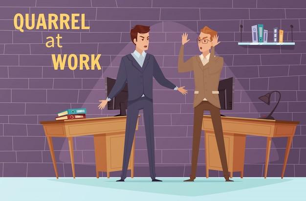 Modello di disaccordo variopinto con due impiegati litiganti arrabbiati al lavoro