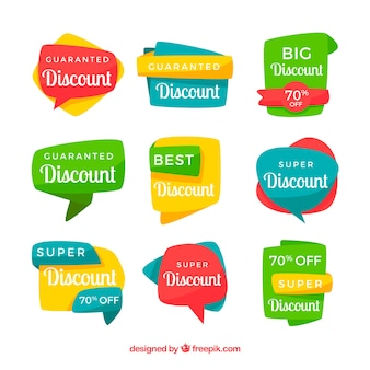 Colorful discount sticker pack