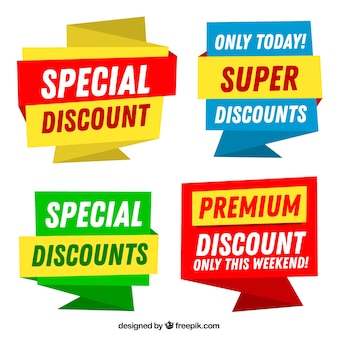 Colorful discount sticker set
