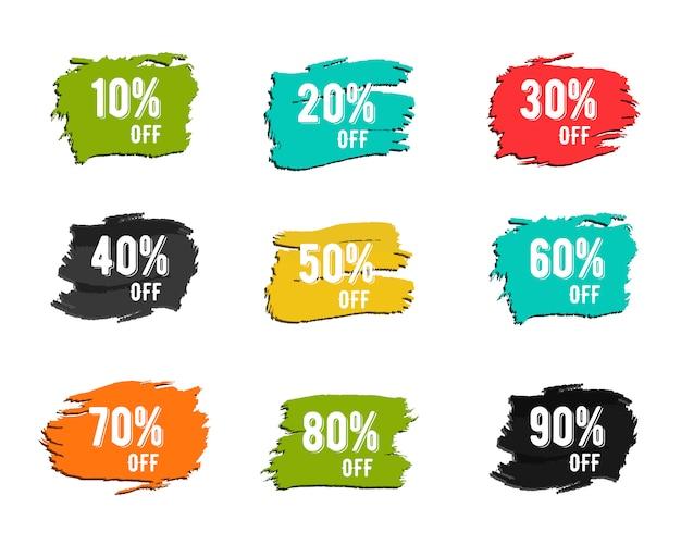 Colorful discount symbols