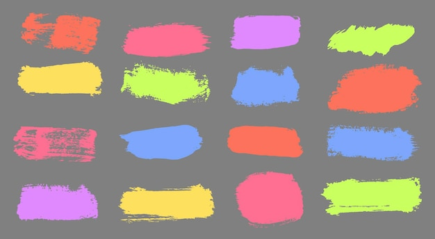 Colorful distress brushes colored stripes are hand drawn with markers brush marker strokes vector