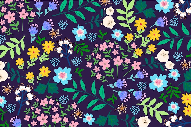Colorful ditsy floral pattern background