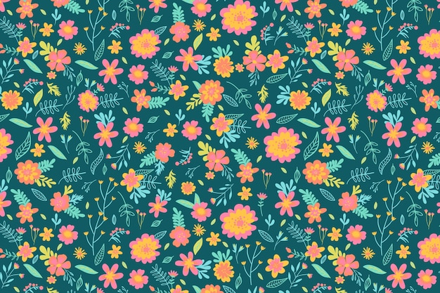 Colorful ditsy floral print background concept