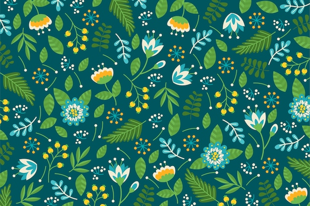 Colorful ditsy floral print background in green tones